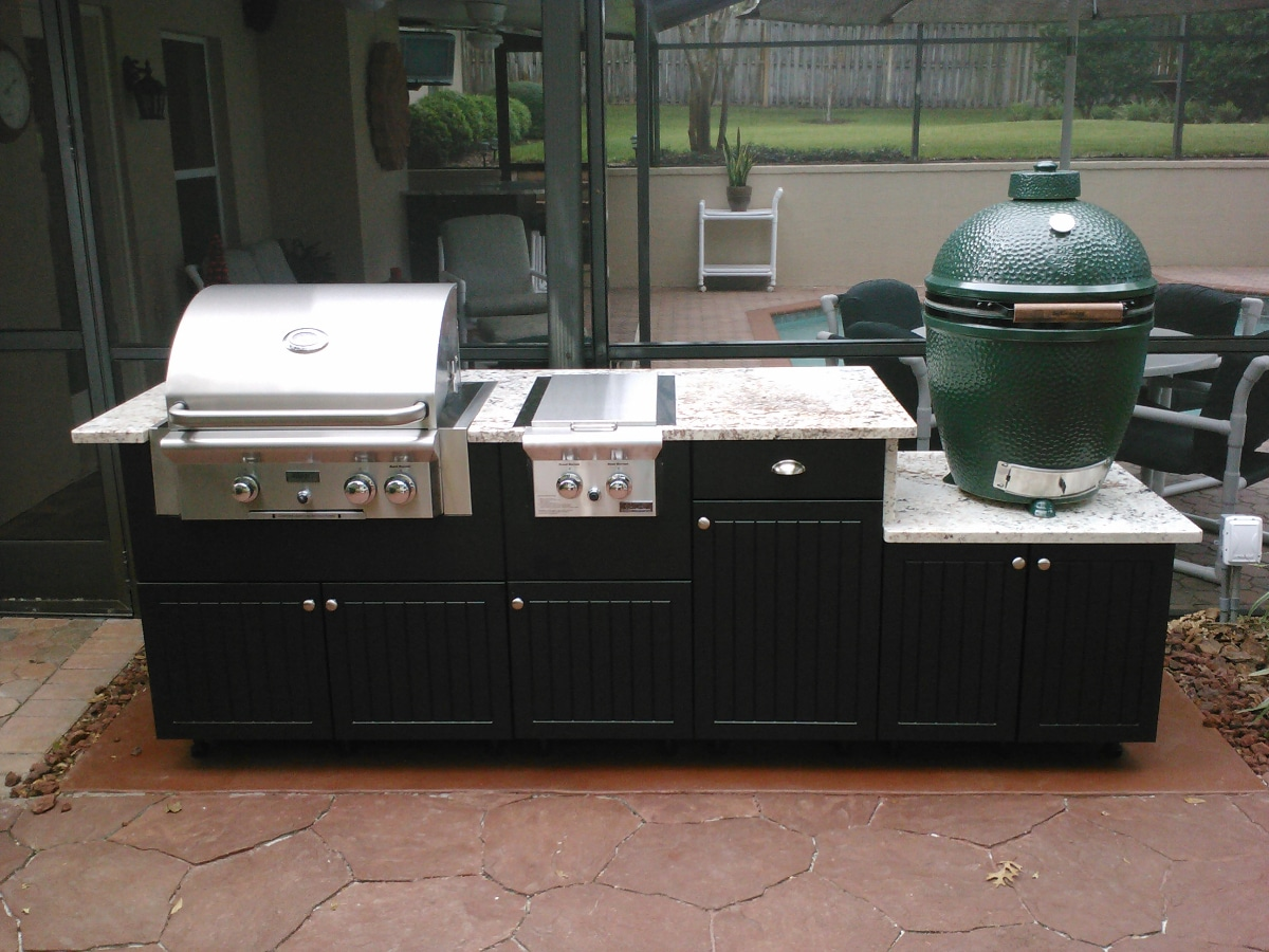 kitchen with big green egg